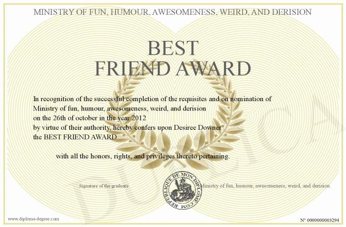 Worlds Best Friend Award Awesome Best Friend Award