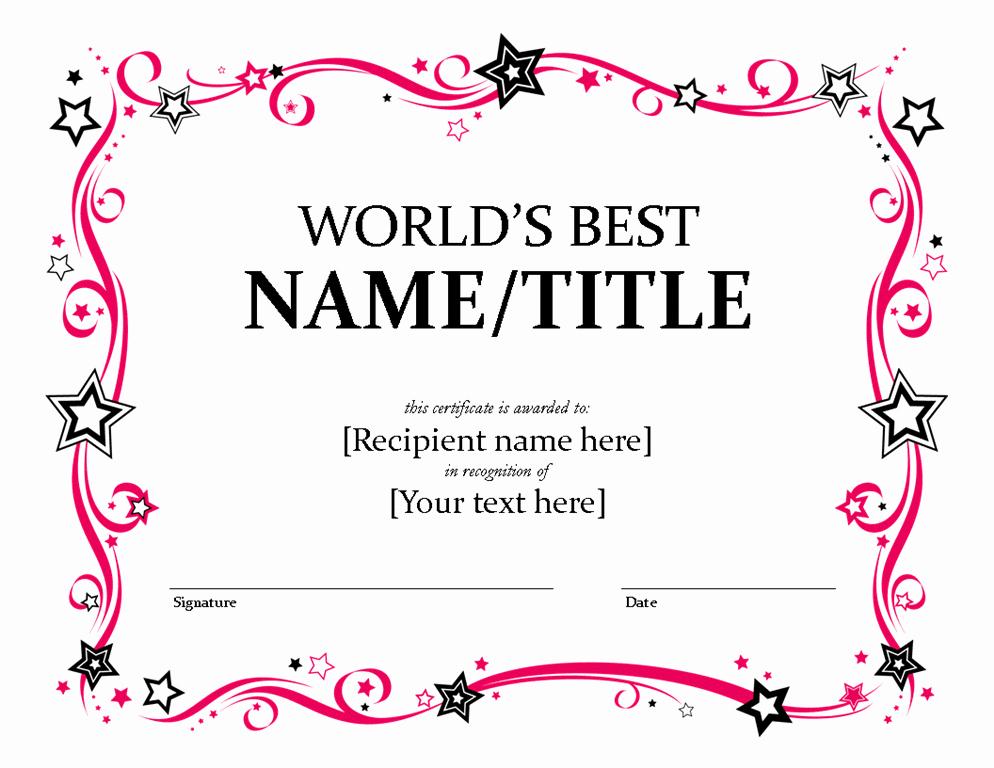 Worlds Best Friend Award Awesome Global S Better Certificate Free Certificate Templates