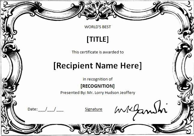 Worlds Best Friend Award Elegant Ms Word World S Best Award Certificate Template
