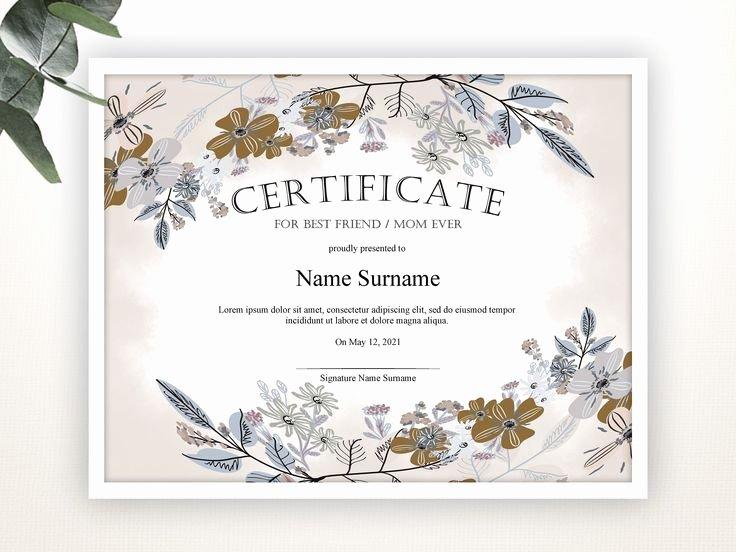 Worlds Best Friend Award Inspirational Certificate Editable Template Editable Best Friend Award