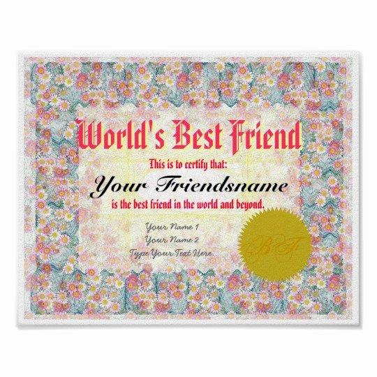 Worlds Best Friend Award Inspirational Make A World S Best Friend Certificate Print