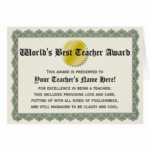 worlds best teacher award certificate appreciation greeting card