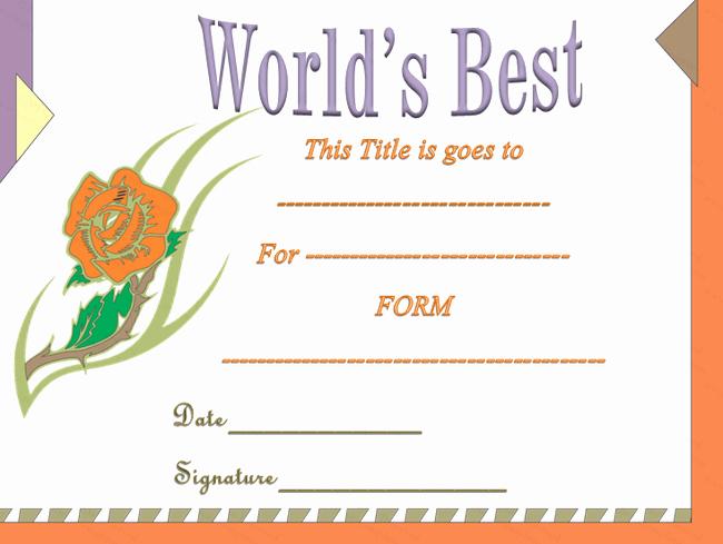 Worlds Best Friend Award Lovely Classic World S Best Award Certificate Template