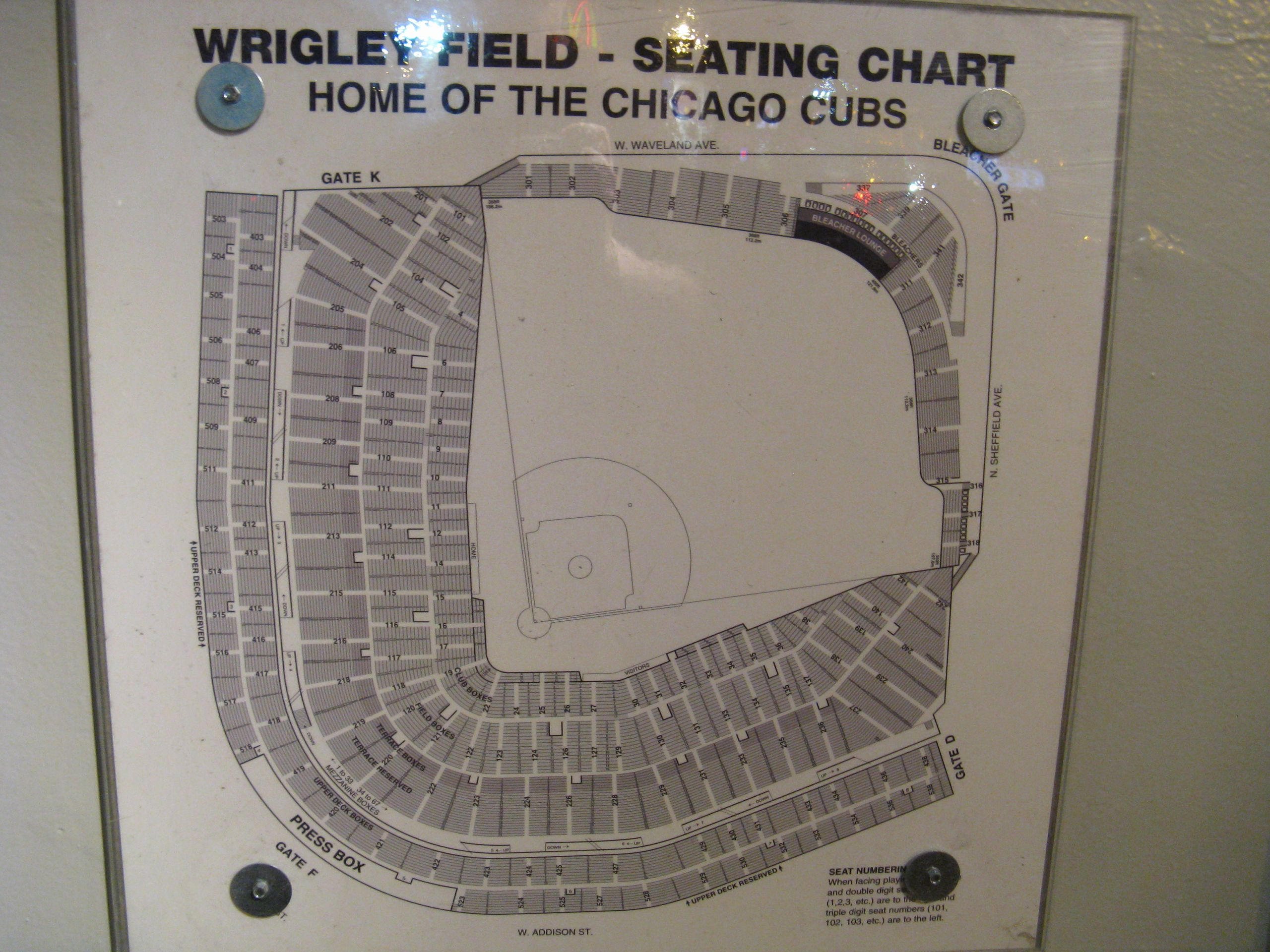 Wrigley Field Seat Map with Seat Numbers New Uncategorized