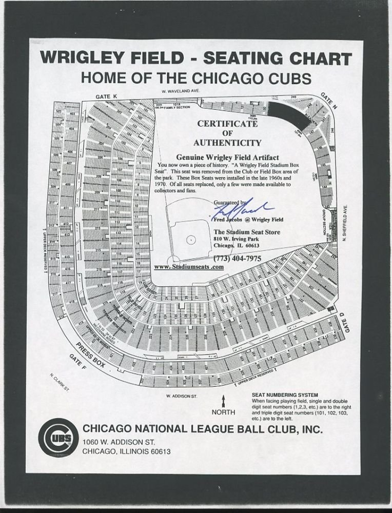Fred Jacobs Signed Cubs Wrigley Field Seating Chart PA LOA i
