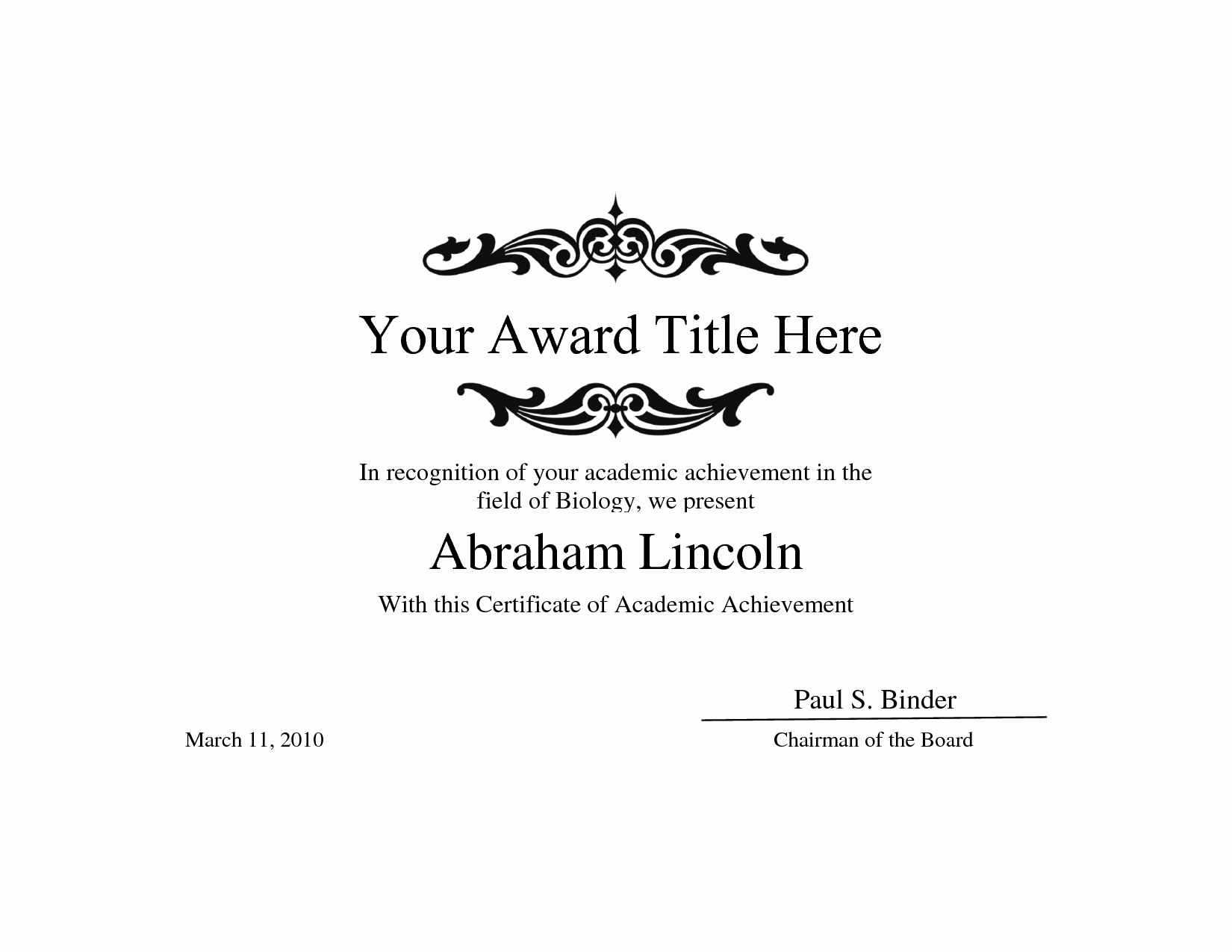 Writing Award Certificate Template Awesome Free Printable Award Certificate Template Bing