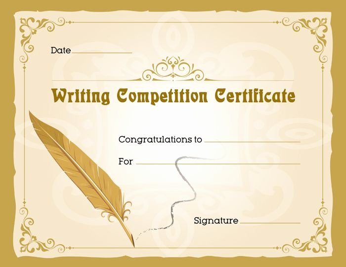 Writing Award Certificate Template Awesome Writing Petition Award Certificate