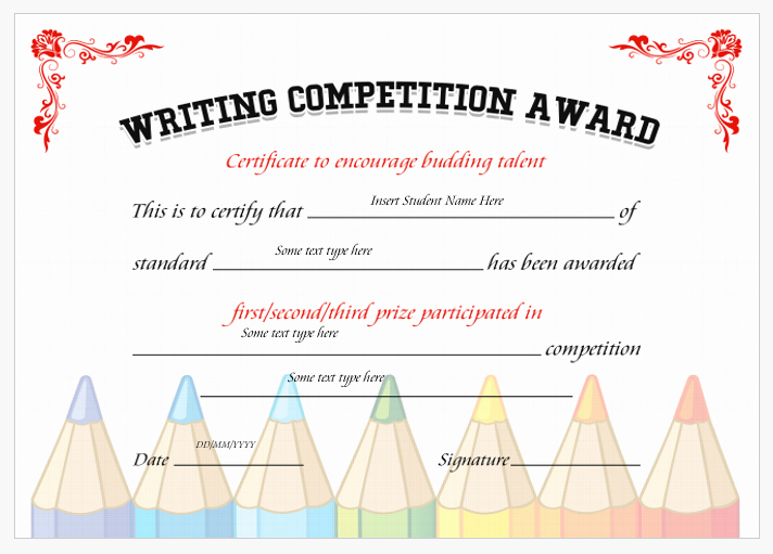 Writing Award Certificate Template Best Of Writing Petition Award Certificates