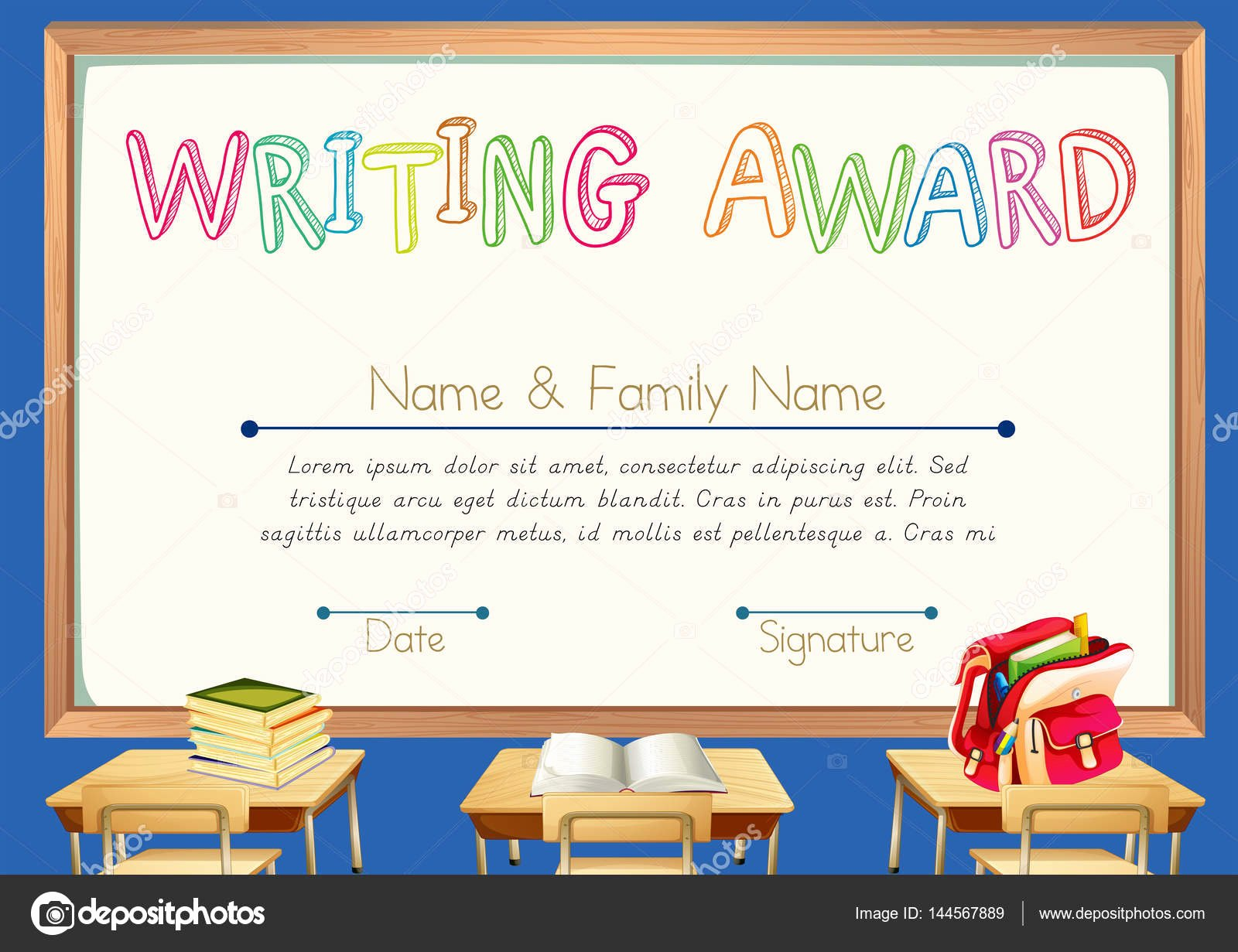 Writing Award Certificate Template Lovely Writing Award with Classroom Background — Stock Vector