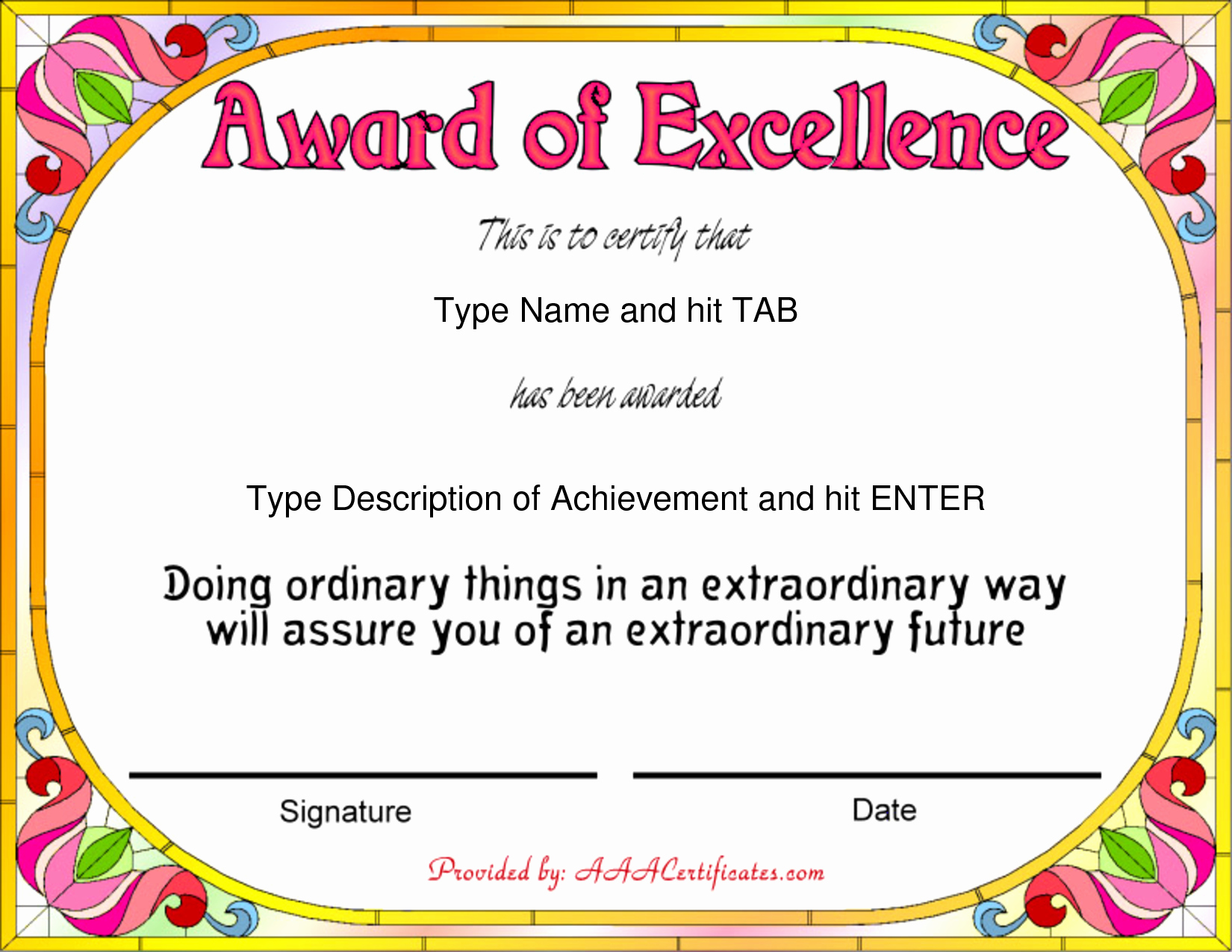 Writing Award Certificate Template New Free Award Certificate Templates Sample Plaint Email