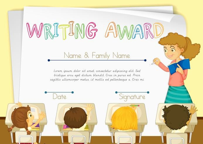 Writing Award Certificate Template Unique Certificate Template for Writing Award Download Free