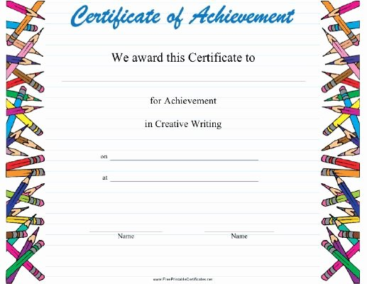 Writing Award Certificate Template Unique This Creative Writing Achievement Certificate Features A