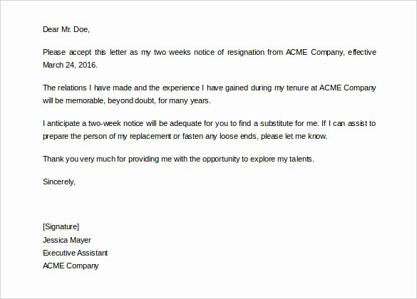 Written 2 Week Notice Beautiful 34 Two Weeks Notice Letter Templates Pdf Google Docs