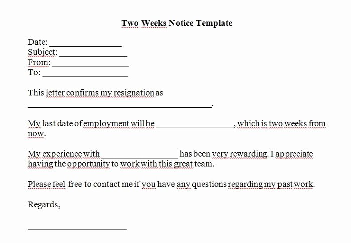 Written 2 Week Notice Luxury 40 Two Weeks Notice Letters & Resignation Letter Templates