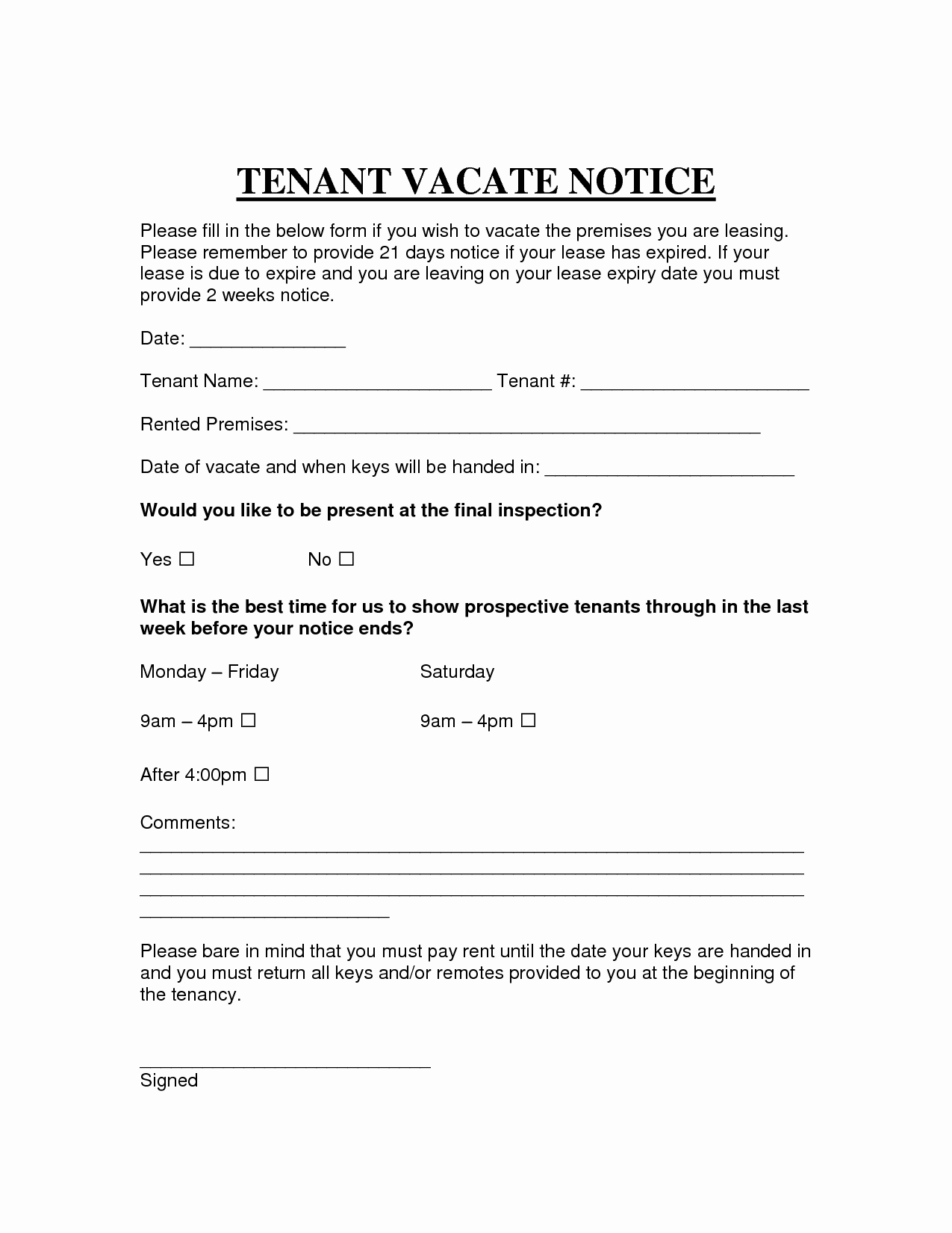 Written Notice Of Move Out Best Of Free Printable Intent to Vacate Letter Template Vacate