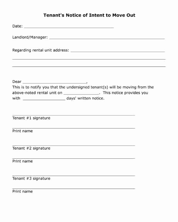 Written Notice Of Move Out Lovely Free Printable Letter Tenant S Notice Of Intent to Move