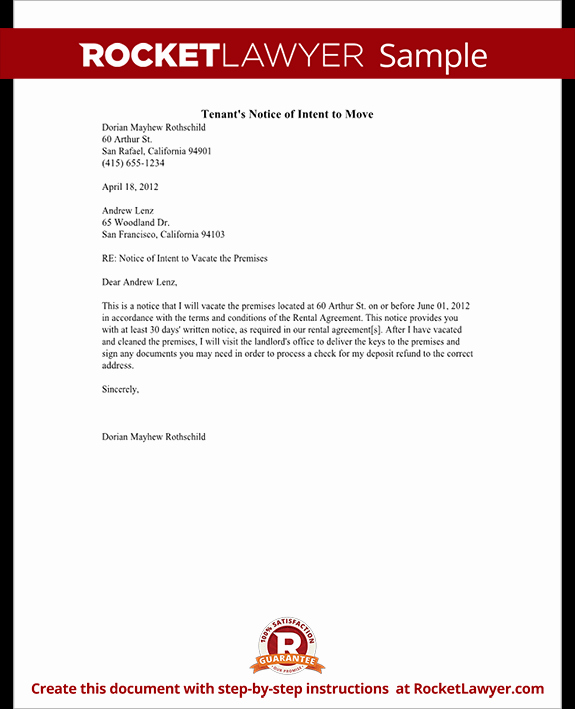 tenants notice of intent to move rl