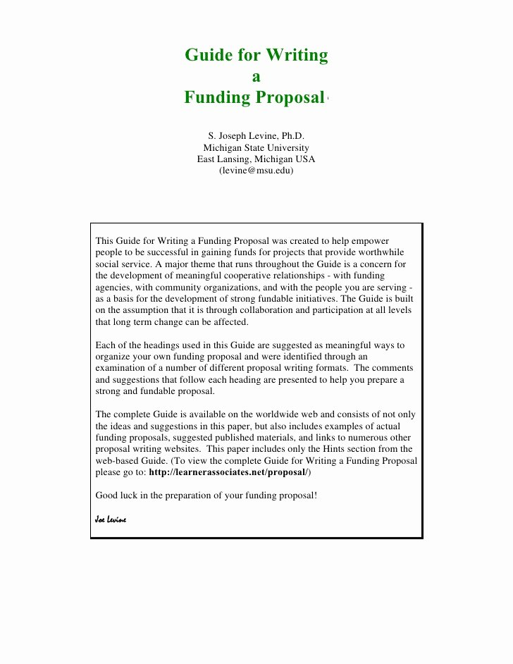 Written Proposal Examples Elegant Guide for Writing Funding Proposal