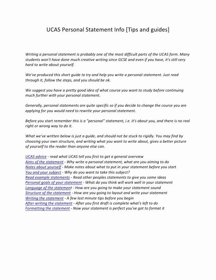 Written Statement Example Beautiful Ucas Personal Statement Info
