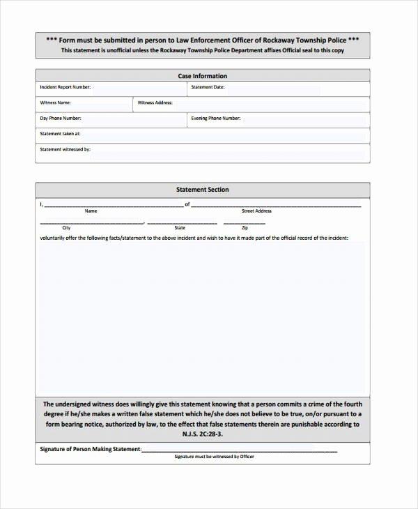 legal statement form