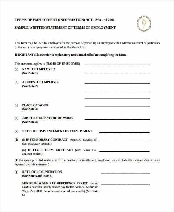Written Statement form Luxury Free 14 Employee Statement forms