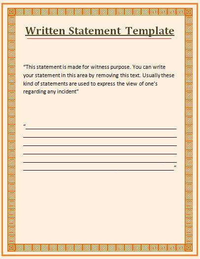 Written Statement form New Witness Statement Template Wordstemplates