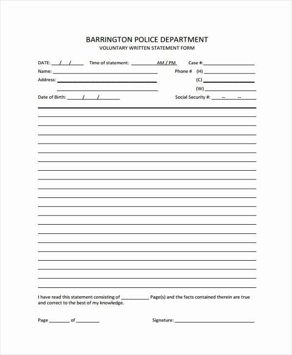 Written Statement format Best Of Free 9 Voluntary Statement forms In Word
