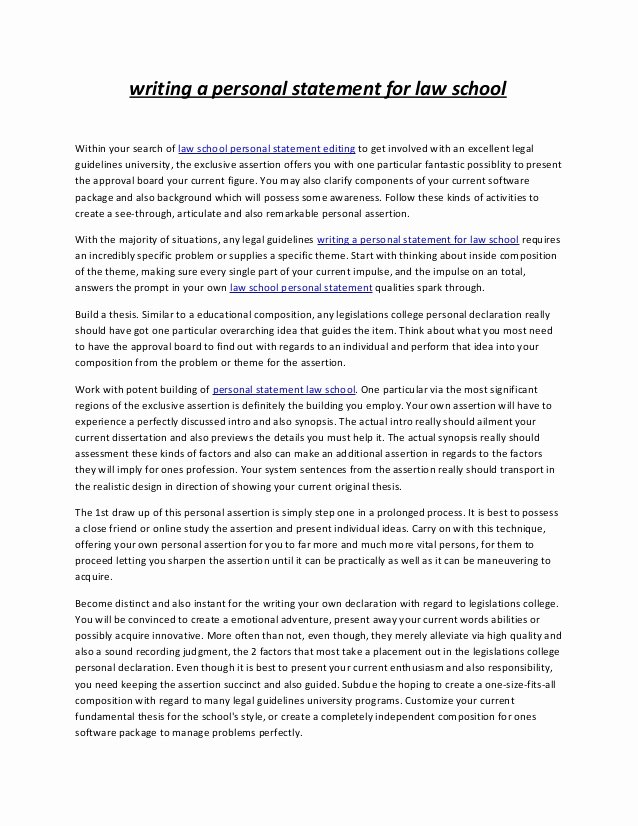 Written Statement Sample New Writing A Personal Statement for Law School