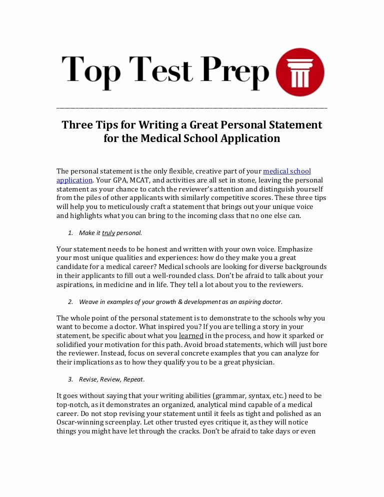 Written Statement Samples Awesome Three Tips for Writing A Great Personal Statement for the