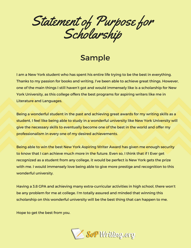 Written Statement Samples New Statement Of Purpose for Scholarship Tips