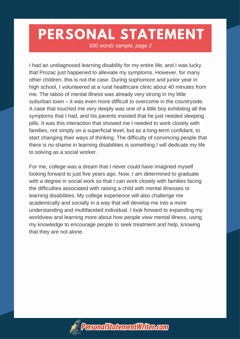 Written Statement Templates New Professional and Best 500 Word Personal Statement Samples