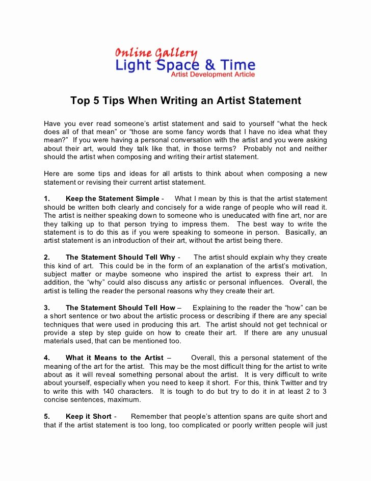 Written Statement Templates Unique How to Write the Perfect Artist Statement