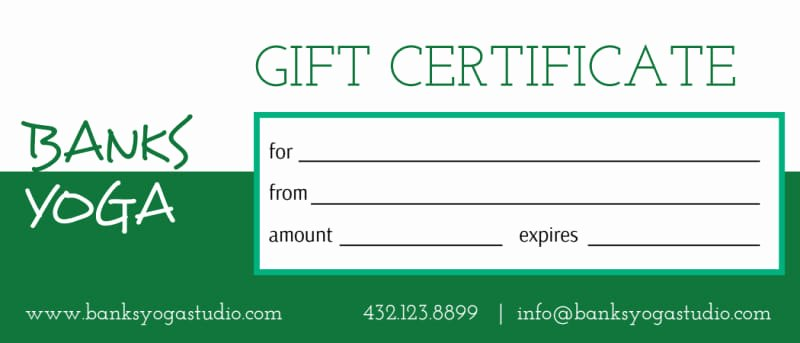 Yoga Gift Certificate Template Free Awesome Banks Yoga Gift Certificate Template