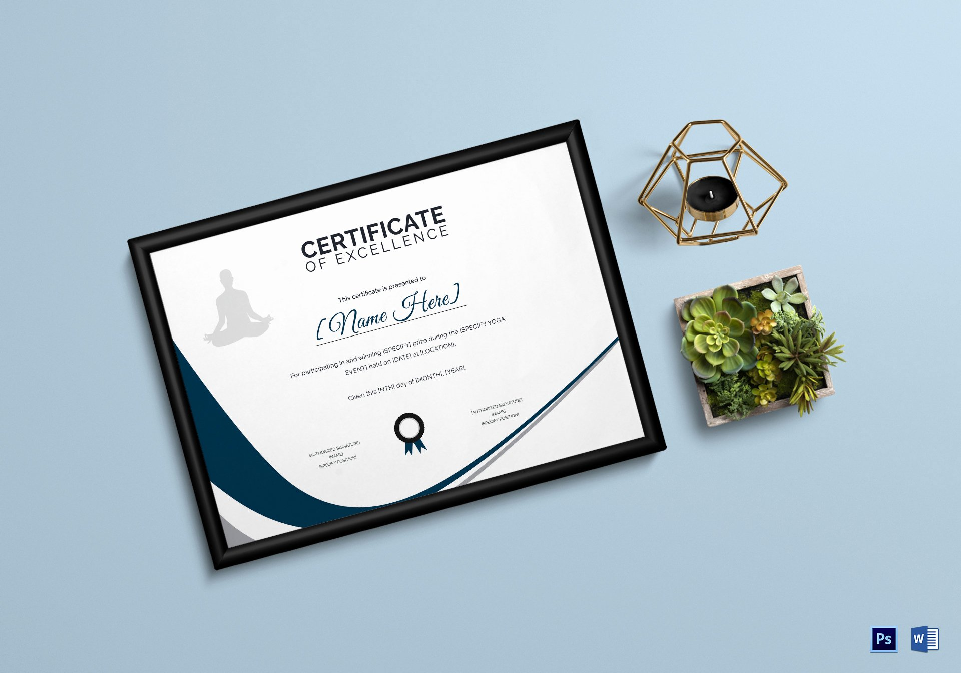 Yoga Gift Certificate Template Free Beautiful Yoga Excellence Certificate Design Template In Psd Word