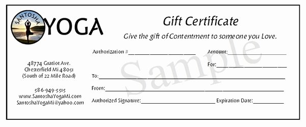 Yoga Gift Certificate Template Free Lovely Gift Certificates