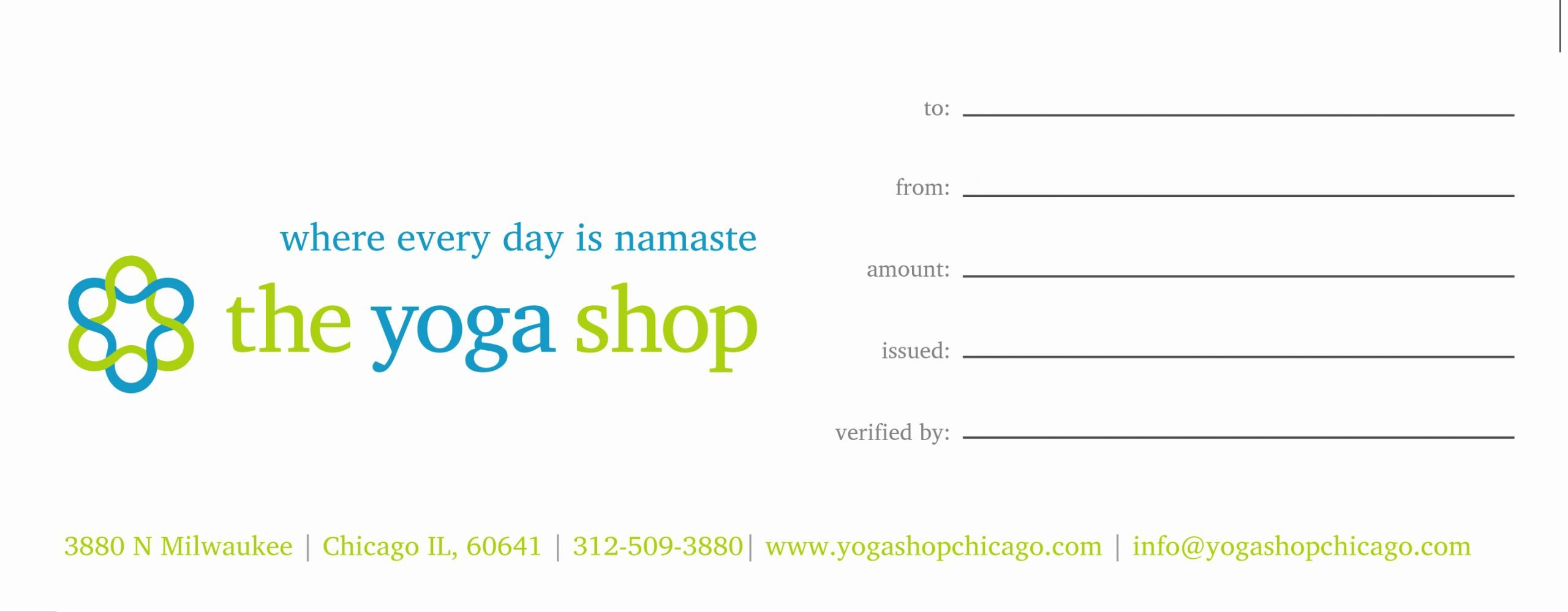 Yoga Gift Certificate Template Free Lovely Gift Certificates the Yoga Shop Chicago
