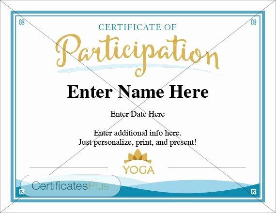 Yoga Gift Certificate Template Inspirational Yoga Certificate Of Participation Template
