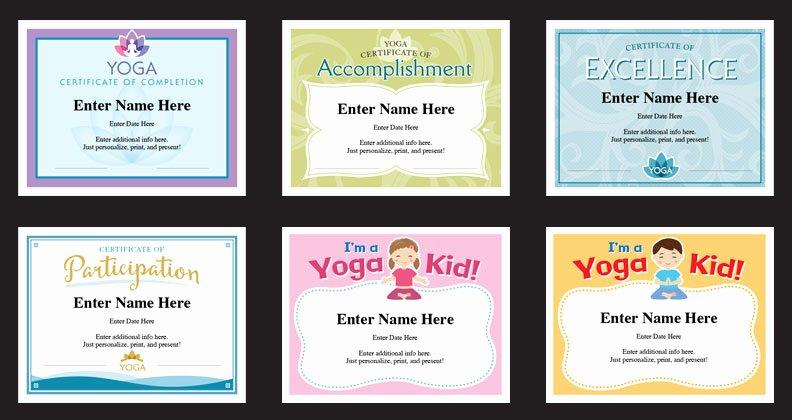 Yoga Teacher Training Certificate Template Beautiful Yoga Certificate Templates Awards Yoga Class