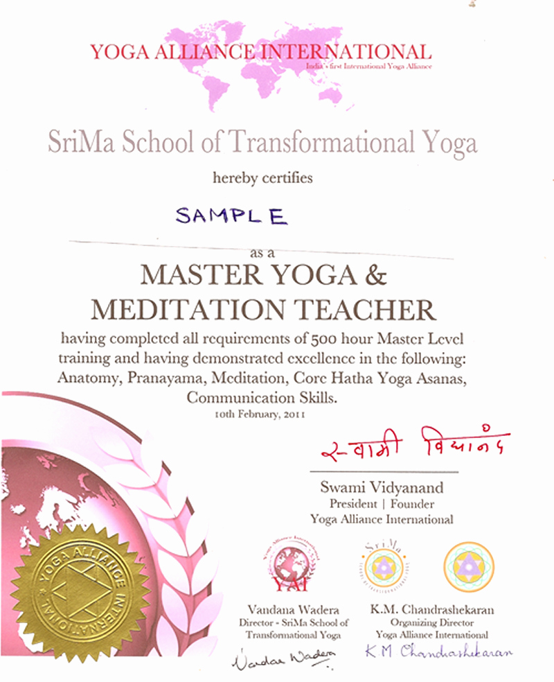 Yoga Teacher Training Certificate Template Inspirational Certificate Yoga Courses