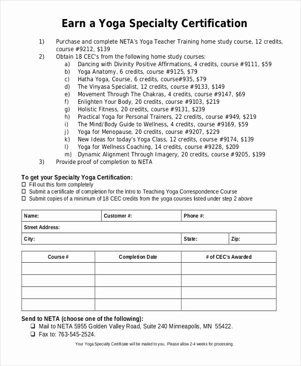 Yoga Teacher Training Certificate Template Lovely Yoga Certificate Template 12 Free Word Pdf Psd format