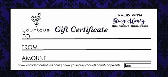 Younique Gift Certificate Template Luxury 3 Pack Printable Digital Customized Younique Gift